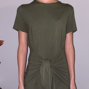 Theory Army Green Front Tie Dress